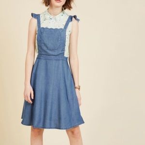 ModCloth A Nudge Of Nostalgia Chambray Jumper
